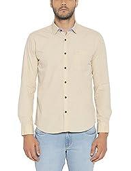 Park Avenue Mens Plain Slim Fit Cotton Casual Shirt (PCSA01189-F3_Medium Fawn_39)