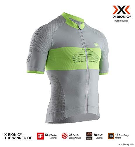 Polypropylen-zip-kragen-shirt (X-Bionic Herren Invent Bike Race Zip, Short Sleeve Shirt, Dolomite Grey/Phyton Yellow, XL)