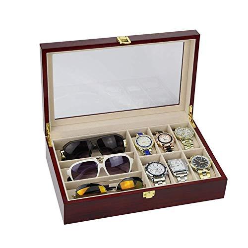 Uhr Schmuckschatulle Display Lagerung 6 Stück Uhrengehäuse und 3 Stück Brillen Lagerung Kunstleder Combo Schmuckschatulle und Sonnenbrille Vitrine Veranstalter Armband Box Fall Fach
