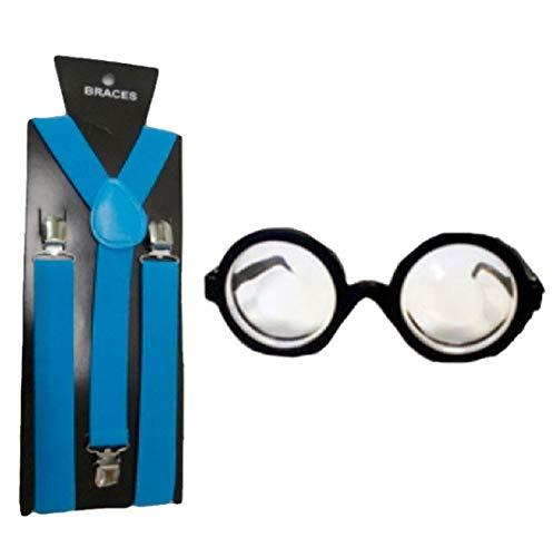 Islander Fashions Erwachsene Runde Brille Brille Und Hosentr�ger Set Unisex Kost�m Zubeh�r One Size (Für Minion-brille Erwachsene)