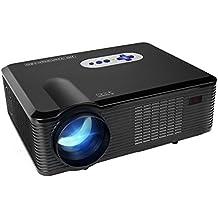 Proyector LED Full HD,Mileagea Videproyector Multimedia 3000 Lúmenes 1280x800 per Cine en Casa Móvil Smartphone Negro