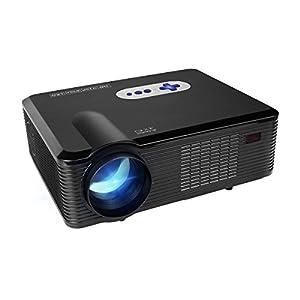 LED HD Projecteur,Mileagea Vidéoprojecteur Full HD Multimédia 3000 Lumens 1280x800 pour Home Cinéma Vidéo Film Smartphone TV Noir