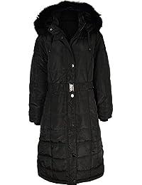 donna lungo Cappotto invernale imbottito trapuntato piumino giubbino  pelliccia con cappuccio taglie forti f510a053b54