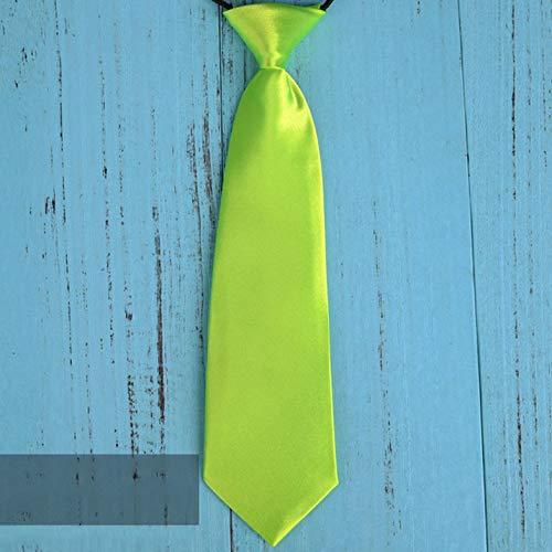 Mode Schule Jungen Kinder Kinder Baby Hochzeit einfarbig elastische Krawatte Junge Krawatte Baby Hochzeit Krawatte Krawatte Fleck - fluoreszierend grün