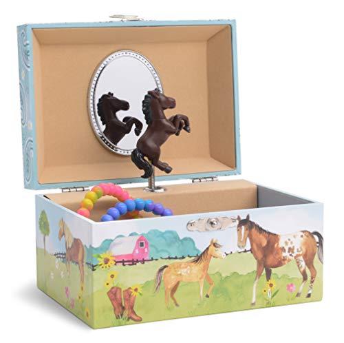 Jewelkeeper - Musikalisches Schmuckaufbewahrungskästchen für Mädchen mit drehendem Pferd, Scheunendesign - Home on The Range Melodie