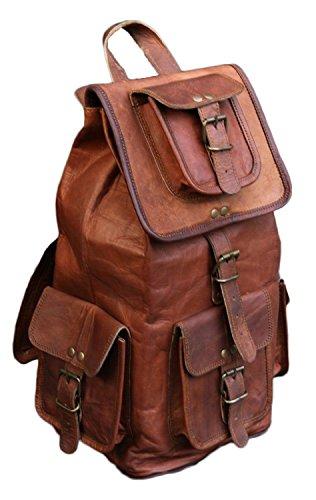 """San Valentín Regalo Por VH 20""""Mochila Colegio Bolsa de piel auténtica hecho a mano Bolsa de viaje portátil bolsa para venta, color marrón oscuro)"""