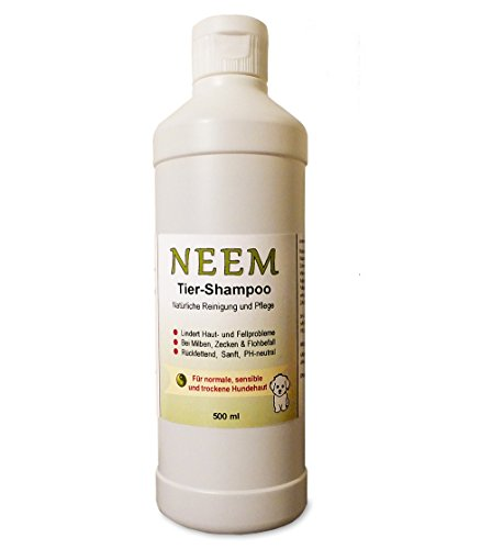 Clickerhunde Hunde Shampoo, Neembaum-Extrakt, Anti-Floh-Zecken-Shampoo, 500ml