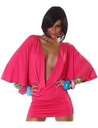Jela London Damen Minikleid Kleid Fledermaus Mega-V-Ausschnitt Onesize trendiges Design