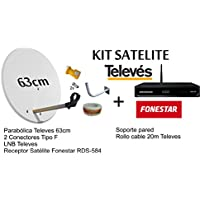 KIT FONESTAR RECEPTOR SATELITE RDS-584WHD+ KIT PARABOLICA TELEVES 63cm + ROLLO CABLE 20MT TELEVES + SOPORTE A PARED Y CONECTORES
