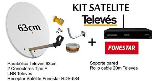 KIT FONESTAR RECEPTOR SATELITE RDS-584WHD+ KIT PARABOLICA TELEVES 63cm + ROLLO...