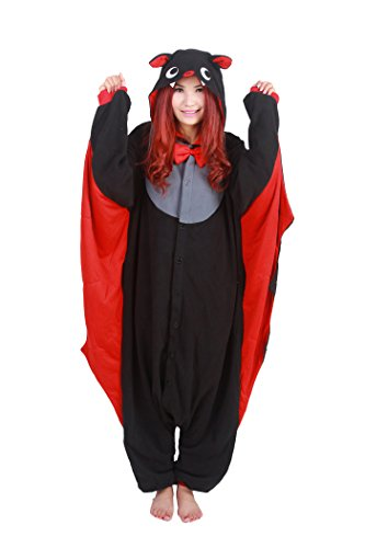 m Tierkostüm Tier Schlafanzug Hund Pyjamas Jumpsuit Kigurumi Fledermaus Damen Herren Erwachsene Cosplay Tier Fasching Karneval Halloween (Fledermaus, M:Höhe 160-169cm) ()