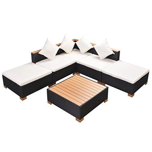 Festnight set divani e tavolo in rattan da giardino da patio da balcone all'aperto per esterno 15 pz set mobili da giardino in polirattan e polywood nero