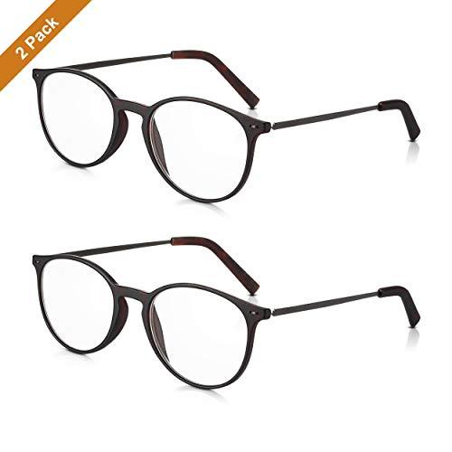 Read Optics 2er Pack +1,5 Dioptrien runde Brillen für Herren/Damen: Schicke Lesebrillen mit leichtem, dunklem Schildpatt Rahmen aus Polykarbonat und schlanken Metall-Bügeln. Klare Gläser mit Sehstärke Schlanke Bügel