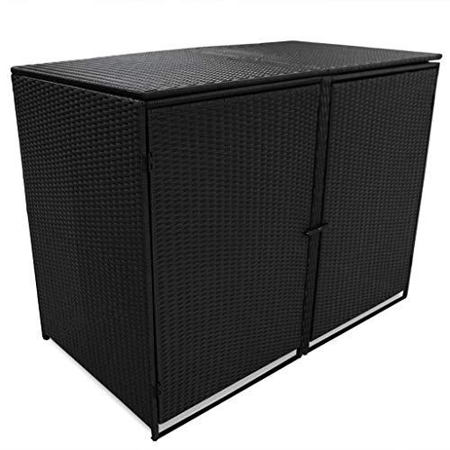 *vidaXL Mülltonnenbox 2er Poly Rattan Gerätebox Müllbox Mülltonnenverkleidung*