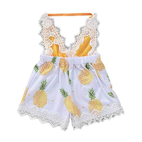 mmer Kleinkind Kind Baby Mädchen Party Outfits Kleidung Set Ärmellos Sling Overall Ananas-Aufdruck mit Spitze Print Strampler Strand Freizeit Frisch Babykleidung ()