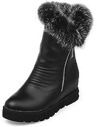 AgooLar Damen Niedriger Absatz Niedrig-Spitze Rein Reißverschluss Stiefel mit Metallisch, Schwarz, 34