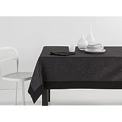 ES-TELA - Mantel jacquard con aplique KASHMIR color Negro - 155x250 cm. - Incluye servilletas - 50% Algodón / 50% Poliéster