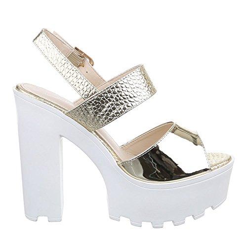 Damen Schuhe, F69, SANDALETTEN HIGH HEELS PUMPS Gold