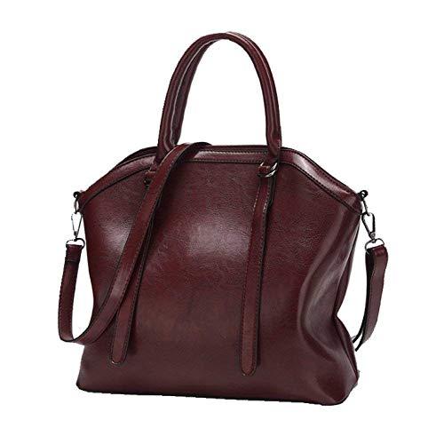 Yisaesa Frauen Tasche Öl Wachs Lackleder Glow Europa und Amerika Trend Tragbare Tasche Temperament Wild (Farbe : Rotwein, Größe : Einheitsgröße)