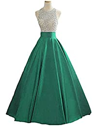 98417e942f4 Vickyben Damen langes A-Linie Pailetten Perlen Satin Abendkleid Hochzeit  Kleid Ballkleid Brautjungfer Kleid Party