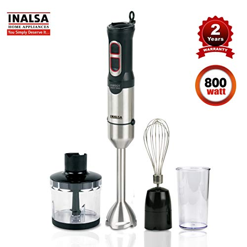 Inalsa Hand Blender Robot INOX 1000 Powerful 3 in 1 | Chopper / Whisker | Silent 800 Watt DC Motor | Variable Speed | 600 ml Multipurpose Jar |LED Light | 2 Yr. Warranty | (Silver/Black)