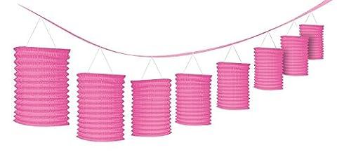 Lanterne papier rose Garland Décorations (pack de 8 lanternes)