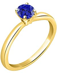 Silver Dew Jewelry 925 Pure Silver CZ Diamond Yellow Gold Plated Blue Sapphire Ring For Women's