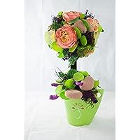 Blühender Baum im grünen Topf -Tischgesteck,Tischdeko mit künstlichen Blumen