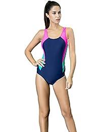 225abc7f8823 Quibine Damen Sport Figuroptimizer Einteiler Racerback Badeanzug One Piece  Racerback Badeanzug Bademode Bodysuit Bathing…