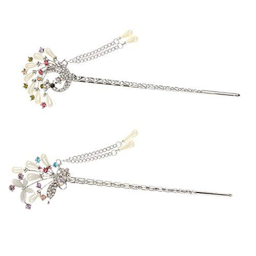 Hellery 2 Stücke Haar Sticks für Damen, Haar Pins Chinesisches Haar Stäbchen Haarstock Haarclip Haarnadel Strass Blumen Quasten