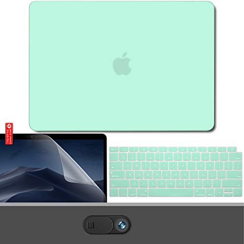 GMYLE New MacBook Air 13 Zoll Hülle A1932 2018 für Touch ID Retina Display, Hartschale, Webcam Cover, Displayschutzfolie und Tastatur Cover Set - Pastel Mint Green -