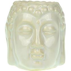 Buda cabeza quemador de aceite de cerámica esmaltada 8cm, cerámica, Blanco, 8x8x8 cm