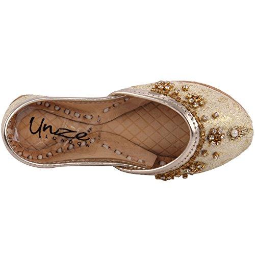 Unze Neue Kinder traditionelle 'Gala' handgefertigte Leder flache Khussa Pumpe Hausschuhe Kinder Schuh - LS-605 I Gold