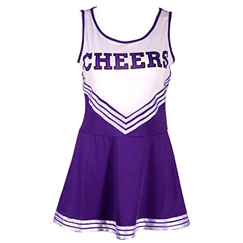 ock Damen Mädchen Kleid Babydoll Nachtwäsche Cosplay Schulmädchen Kostüm Cheerleader Kleid Dessous Karneval Fasching Halloween Kostüm (XS, Lila) ()