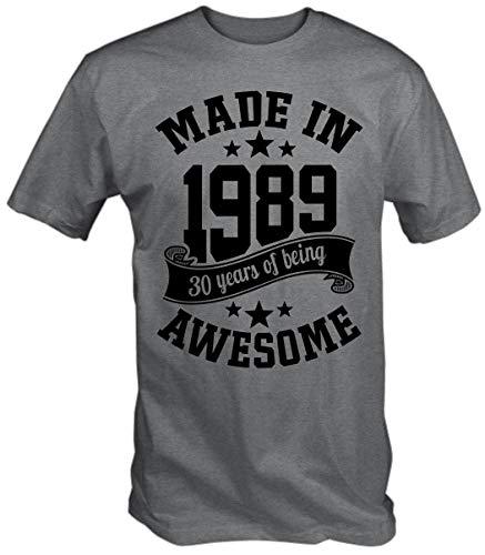 6TN Uomo Realizzata nel 1989 30 Anni di Essere Una Maglietta con 30 Anni di Buon Compleanno (XL, Sport Grigio)
