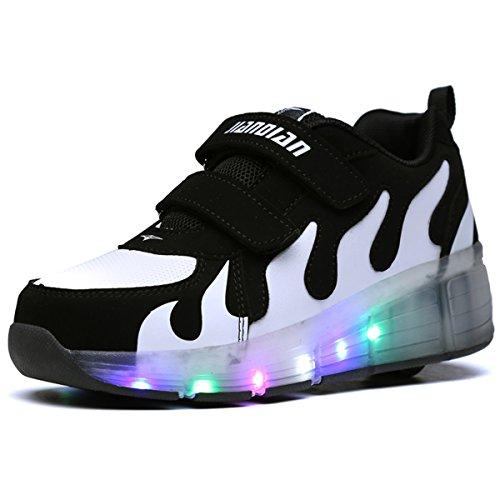 Viken Azer-UK Kinder Schuhe LED Roller Skate Schuhe Skateboard Schuhe Sneakers Sportschuhe Kinder (30 EU, Weiß03) (Low Top Roller Skates)