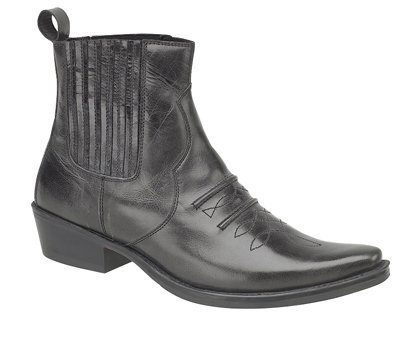 JONES Leather Ankle Cowboy Boots Distressed Black (Black Boots Distressed Leather)