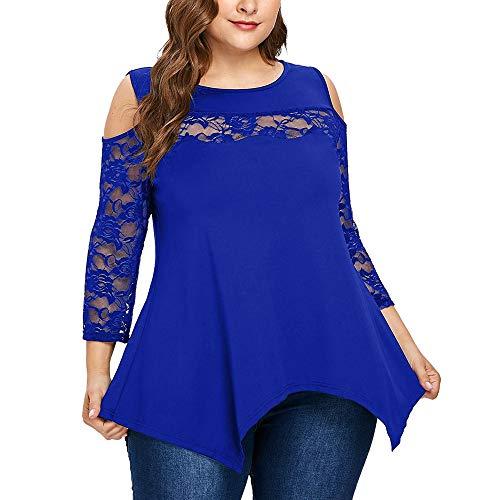 VEMOW Heiße verkaufende große Größen-Frauen-Dame-Sommer-Herbst-Reizvolles tägliches Spitze-Hemd-Lange Hülsen-beiläufige Lange Hemd-Oberseiten-Bluse(X4-Blau, EU-50/CN-3XL)