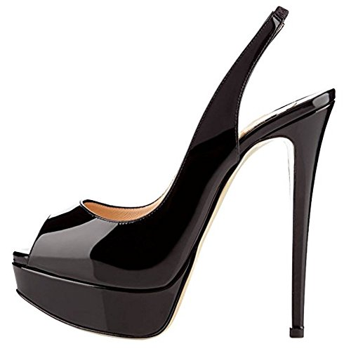 MIUINCY Womens Fashion Peep Toe High HeelSandals Stiletto Evening Dress Party Pumps Black