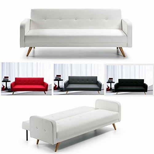 Bagno italia divano letto reclinabile 210x82 microfibra o ecopelle piedi legno in 4 colori modello rodrigo
