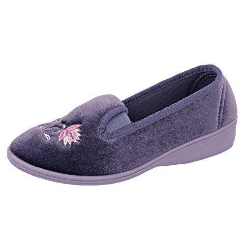Donna Dunlop Emily Zeppa Tacco Basso Ricamato Velluto Pantofole Antonietta - violetto