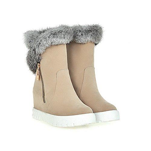 AllhqFashion Damen Reißverschluss Nubukleder Mittler Absatz Ziehen Auf Rund Zehe Stiefel Cremefarben