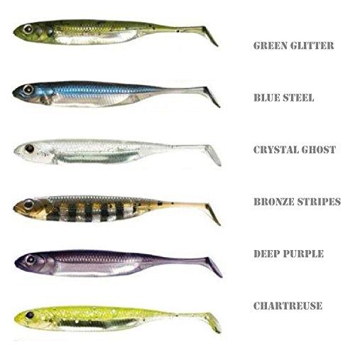 Fishin Addict Fish Arrow Torpedo - Esche artificiali morbide da pesca, di tipo shad, drop shot o jig, con sistema antincaglio, confezione da 3 pezzi, 105 mm, peso 6 g, CRYSTAL GHOST