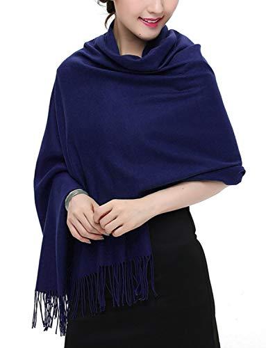 TFENG Damen Schal, 19 Farben Frauen Weich Elegant Stola Schal Tuch, übergroßer Deckenschal Herbstschal Winterschal,Marine -