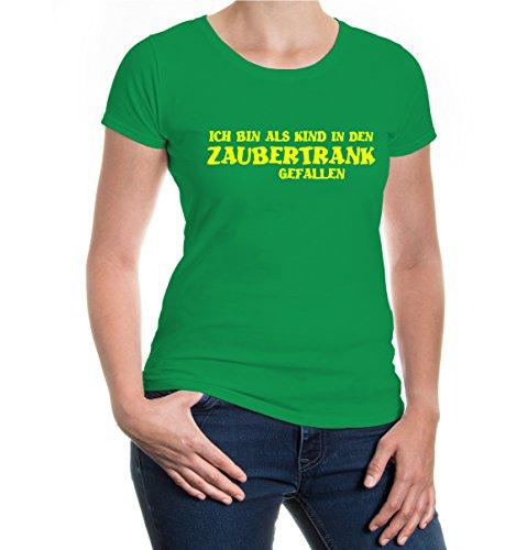 buXsbaum® Girlie T-Shirt Ich bin als Kind in den Zaubertrank gefallen Kellygreen-Neonyellow