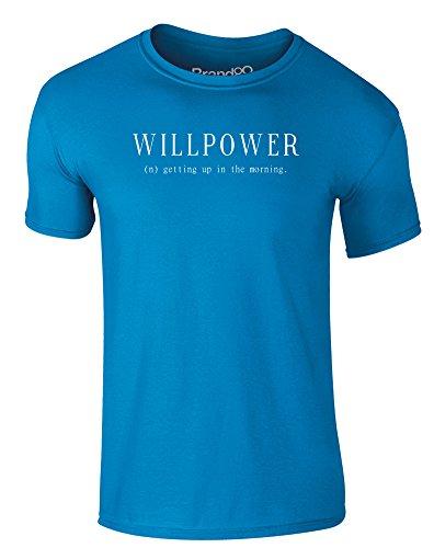 Brand88 - Willpower, Erwachsene Gedrucktes T-Shirt Azurblau/Weiß