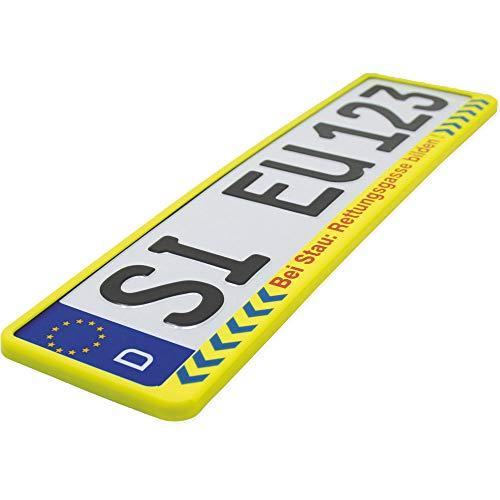 KFZ Kennzeichen-Halter | Rettungsgasse bilden | Neongelb Text Hinweis Rot | Universal Nummern-Schild Halterung | 520 mm Standard Größe Rahmen - Auto-rahmen
