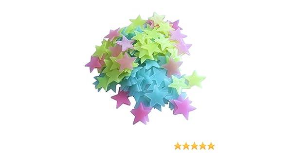 Subfamily Lot de 50 Etoiles Phosphorescentes pour Chambre de Enfant Sticker Mural DIY Sticker Vert Clair en Plastique Lumineux Multicolore