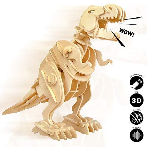 ROBOTIME 3D Puzzle - Dinosaurier Holzspielzeug - Roboter T-Rex - Modellbausätze aus Holz-Geschenk zum Geburtstag Weihnachten für Jungen und Mädchen 6, 7, 8 Jahre und älter - Roboter-t-rex
