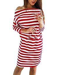 Vestidos Corto Mujer Sexy,Modaworld Vestido Casual de Manga Larga a Rayas con Cordones para Mujer Otoño Invierno Vestidos de Fiesta…